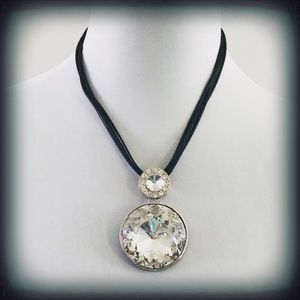 Crystal Pendant Statement Necklace on Black Cord
